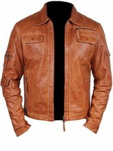 Mens Fashion Real Sheep Leather stylish Moto Jacket All Size