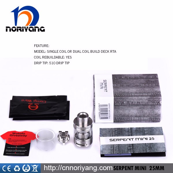 Wholesale Black/Silver Wotofo Serpent mini 25mm RTA Atomizer
