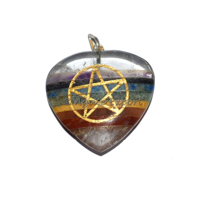 Pentagram Chakra Pendants With Crystal Quartz : Engraved Chakra Pendants