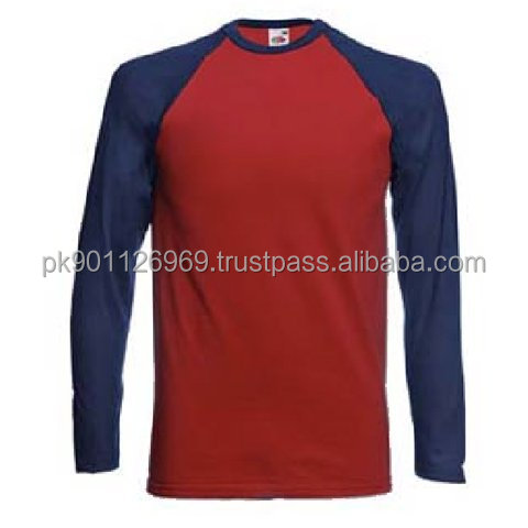 contrast raglan sleeve cotton t-shirts men long sleeve slim fit tee