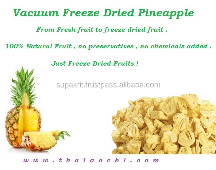 Freeze dried Fruit Pineapple slices from Thailand