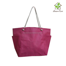 promotional custom reusable webbing cord handle grocery shopping bag Daily use supermarket bag with eyelets