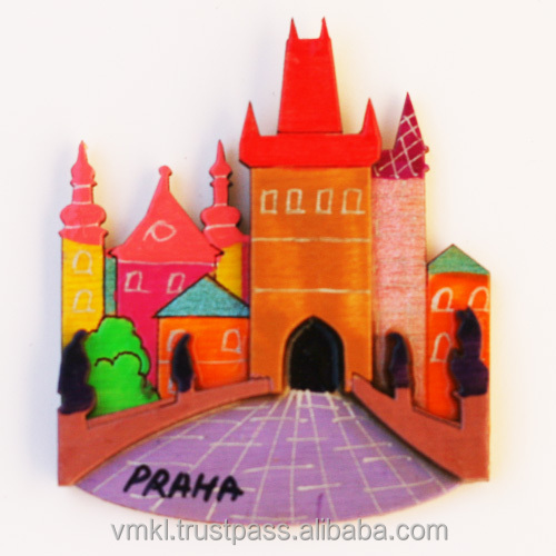 Souvenir magnets with Prague or your city, plywood fridge magnet wholesale, hand made world city fridge magnets, GH2-11