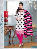 Stylish designer printed top cambric cotton white & pink casual salwar suit with fancy printed dupatta