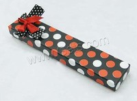 Cardboard Necklace Box Rectangle with round spot & with ribbon bowknot decoration Sold By PC