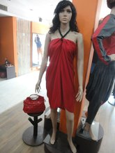 Red casual one piece dress for ladies