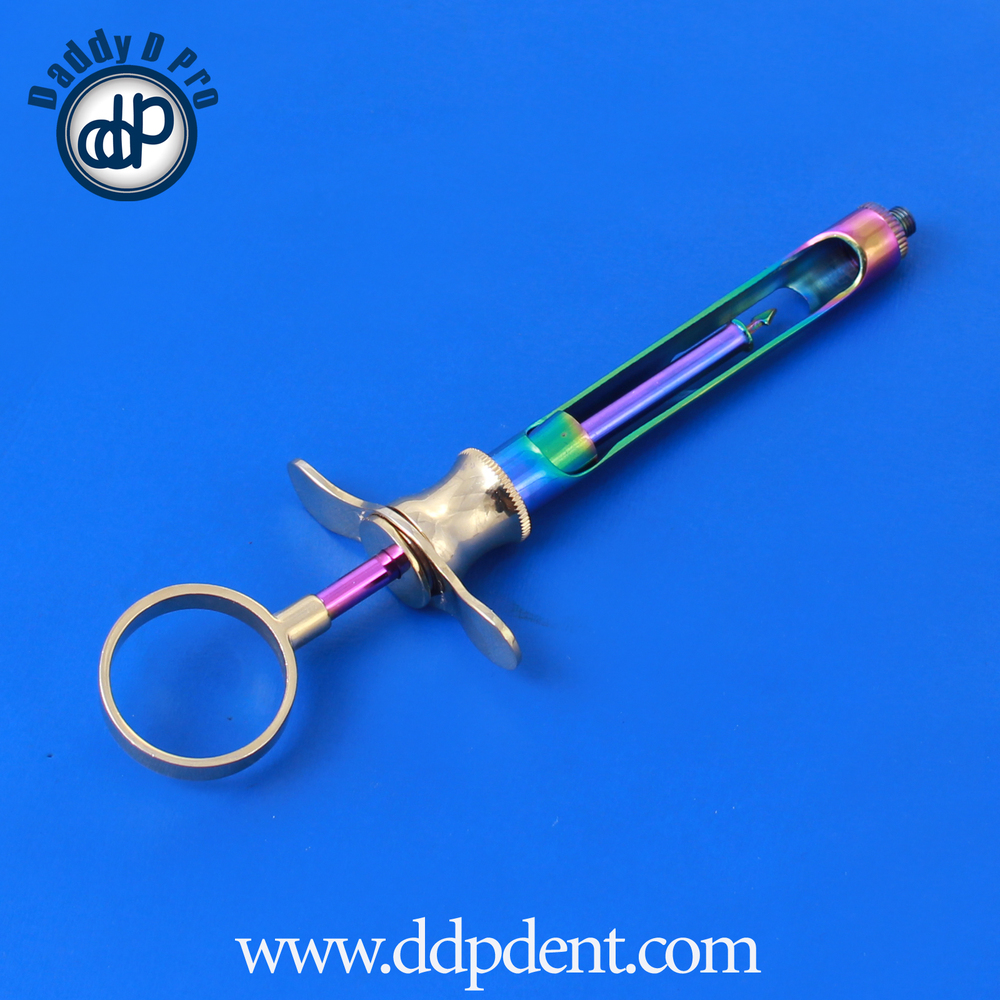DENTAL ASPIRATING SYRINGE GOLD & MULTI COLOR COATING STAINLESS STEEL