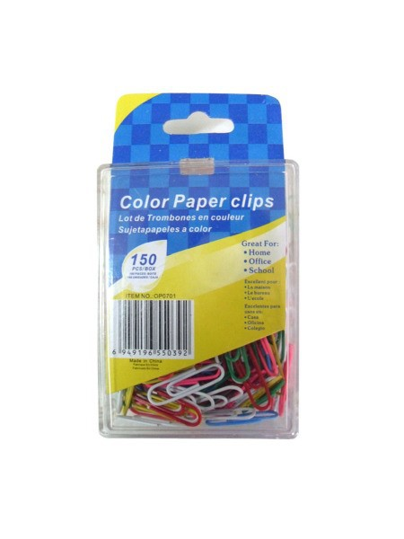 Colored paper clips, pack of 150