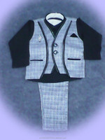 Grey Waist Coat And Pant With Black Shirt