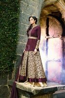 Long Designer Dark Maroon colour Anarkali Party Wear suit
