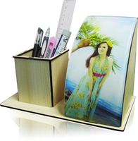 Personalised Gift for Kids Sublimation Blank Acrylic Photo Wooden Table Lamp with Pen Holder