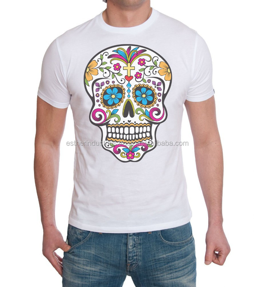 DAY OF DEAD SUGAR SKULL COTTON MENS T SHIRT/High quality Sublimation Tee/multicolored skull t shirt