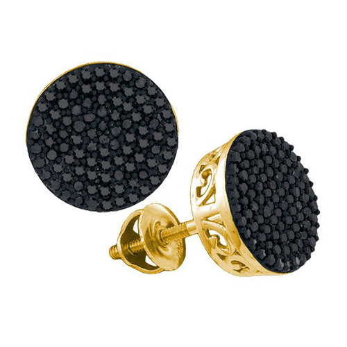 1.00Ct Real Natural Black Diamond Earring 10K Yellow Gold