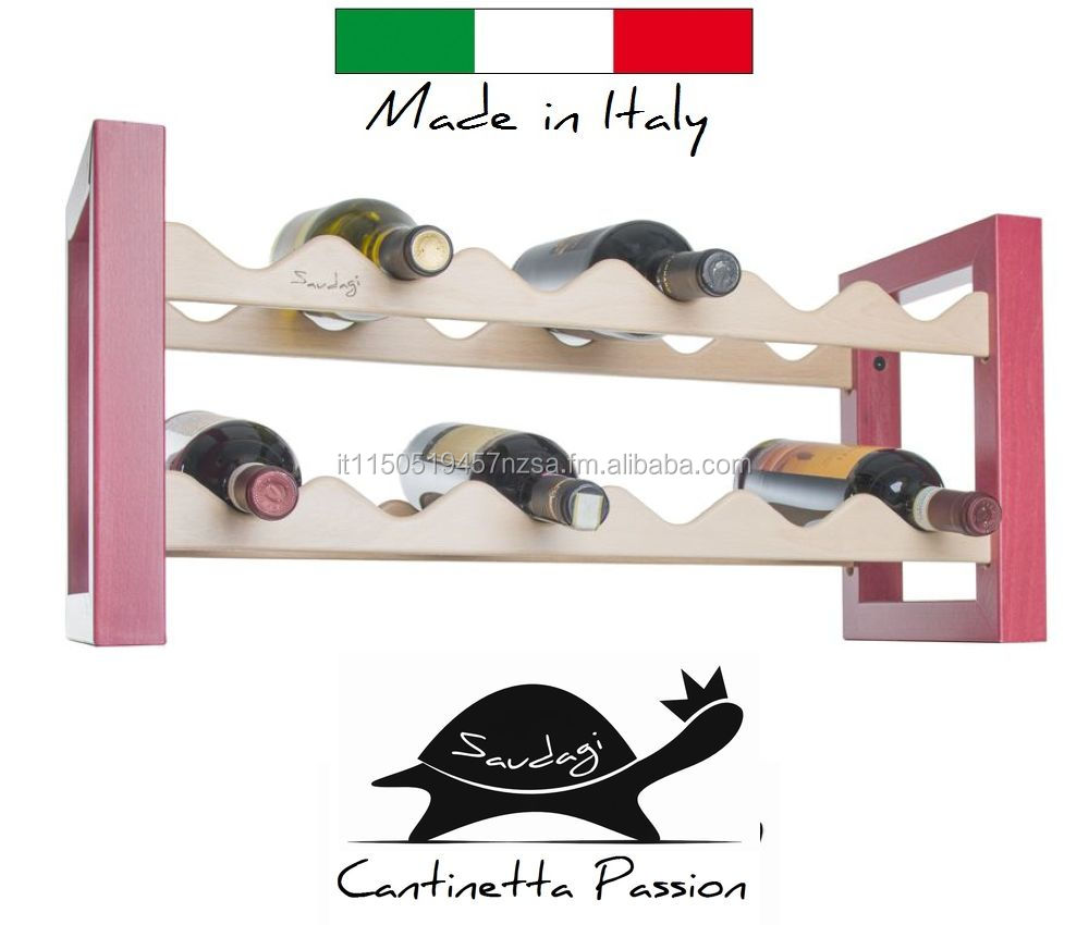 Wine Rack - Wine Bottle Rack in solid wood, 12 bottles Black Lacquer - Saudagi - MADE IN ITALY