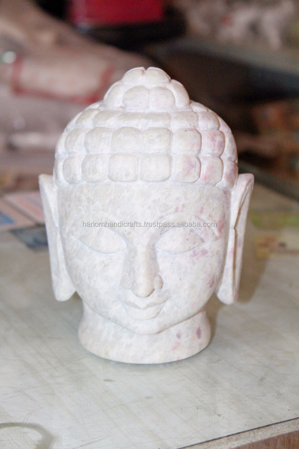 Handmade Marble Buddha Head Statue Soap Stone beautiful