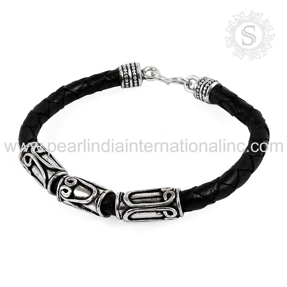 Charming design lather bracelet 925 sterling silver jewelry offers wholesale silver jewelry from india jaipur