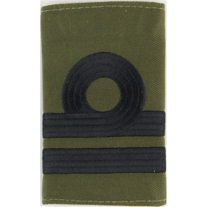 Machine embroidery epaulette Royal Navy Lieutenant Rank Slide For Right Shoulder Black On Olive Embroidered Naval Branch, rank