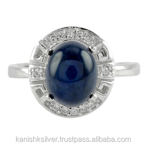 Exclusive Blue Sapphire Gemstone Antique Ring Wholesale Sterling Silver 925 Jewelry Cubic Zircon Ring