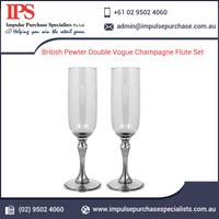 British Pewter Double Vogue Champagne Flute Set