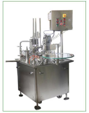 Fully Automatic Cup Filling And Sealing Machine Model 1-6-R (Made In India) Powder Liquid Disposable Best Quality & Low Price