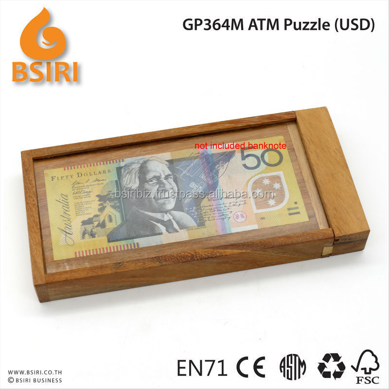 Banks and Money Holders Currency Vault ATM Wooden Tickey Puzzle