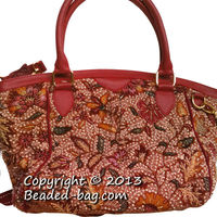 Leather Ladies Handbag With Peranakan Hand Made Beads