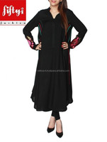 New Black Frock Stylie Long Kurti For Girls