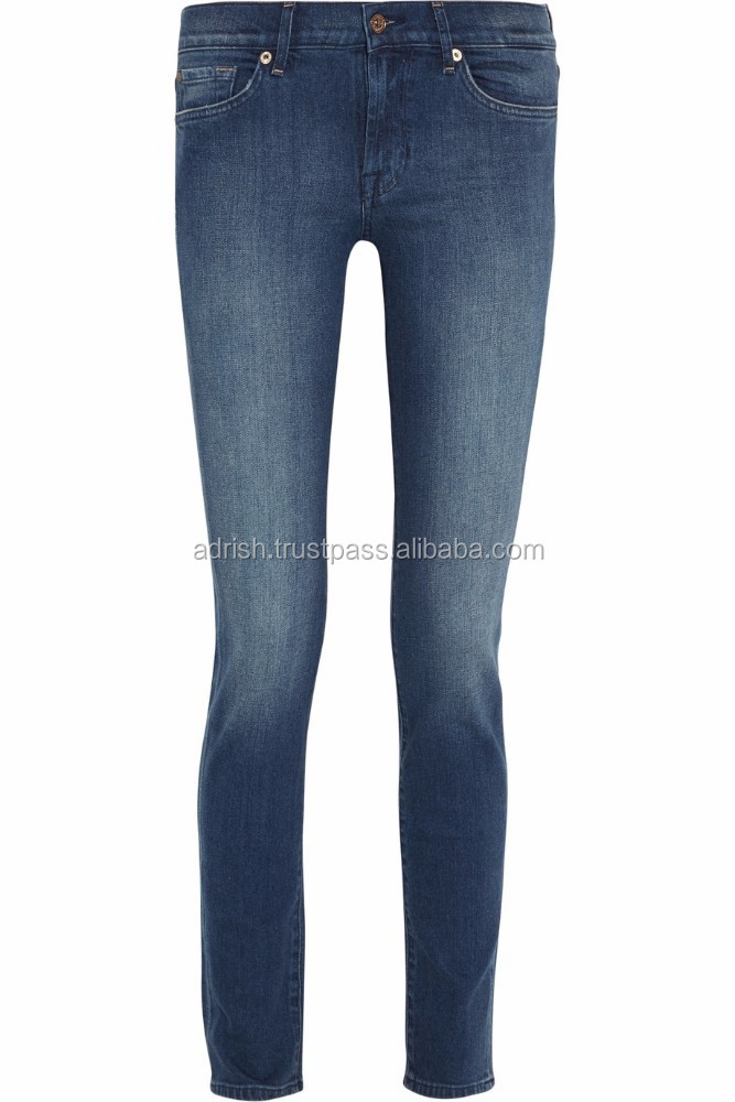 ladies straight cropped leg hand distressed jeans