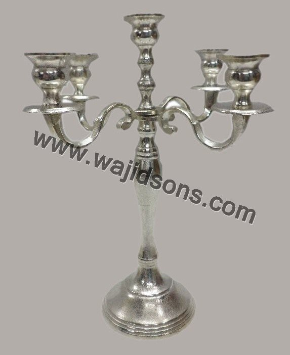 Aluminum candelabra 5 candle, candelabra, chandle holder, wedding candelabra