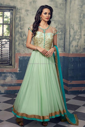 Liteturoise color with Zari net work at neck zari turcoise border bottom designer long Readymade Anarkali Salwar Kameez
