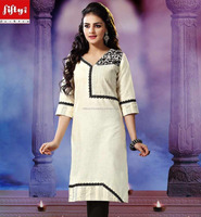 ETHNIC STYLE KHADI KURTI WITH CONTRAST EMBROIDERY & THREAD WORK Designer Off White khadi kurti with black color embroidery 2015