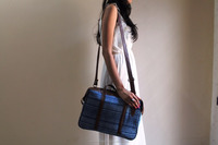 Elegant designer leather cotton hand bag