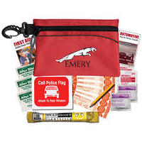 Economy Auto Kit - has light stick, call police banner, bandages, alcohol wipes, antiseptic swabs and comes with your logo
