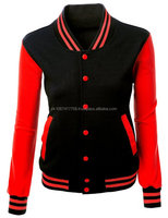 Women High Quality Varsity Jacket With Leather Sleeve