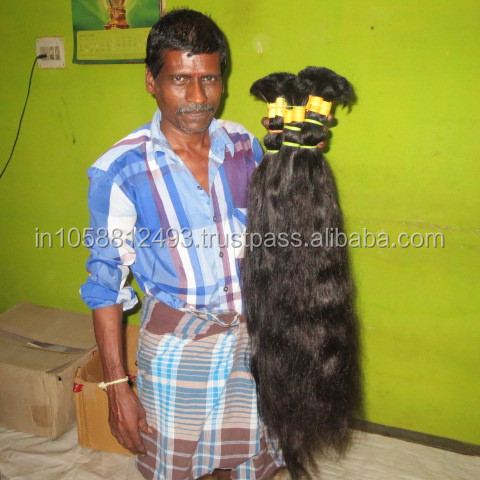 Wholesale virgin hair extension 100% natural indian human hair price list from india Dev hair exports chennai