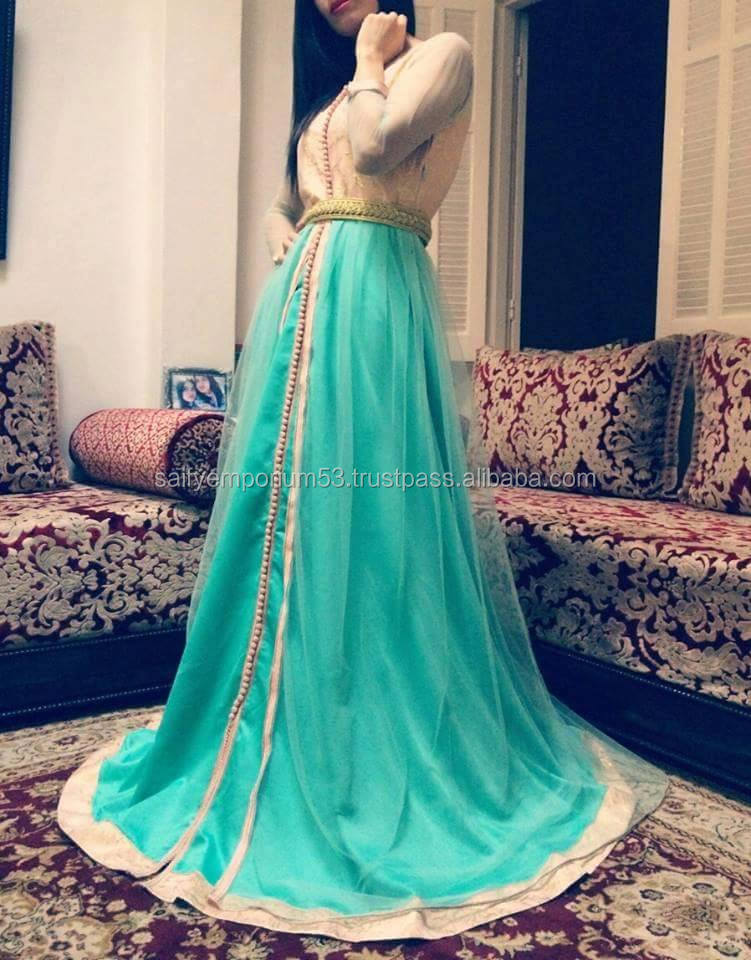 Top Was Golden Self Print Fabric Bottom Was Skyblue Color Chiffone,Net Morocco Caftan Very Goodlooking Dress
