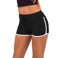 Leisure Women Cotton Shorts Contrast Binding Side Split Elastic Waist Loose Casual Shorts Yo-Ga Short Feminino
