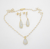 925 Sterling Silver Rainbow Moonstone Gold Plated Necklace