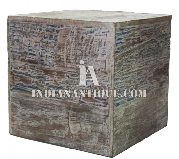 FURNITURE INDIAN WOOD FURNITURE HAND PAINTED ANTIQUE DISTRESSED FINISH STOOL IA-DIS-162