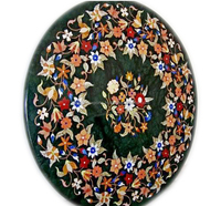 Green Marble Micro Mosaic Inlay Coffee Table Top With Pietra Dura Art Work