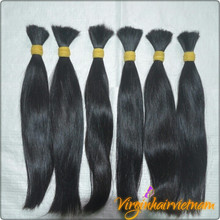 100% unprocessed Raw Pure virgin remy bulk hair for wig maker with virgin hair vietnam company