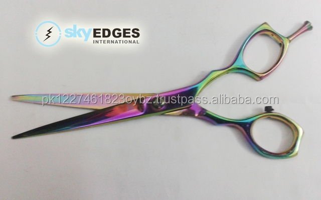 Rose gold barber shears / Rainbow color barber scissors with 440C J2 HC blades options