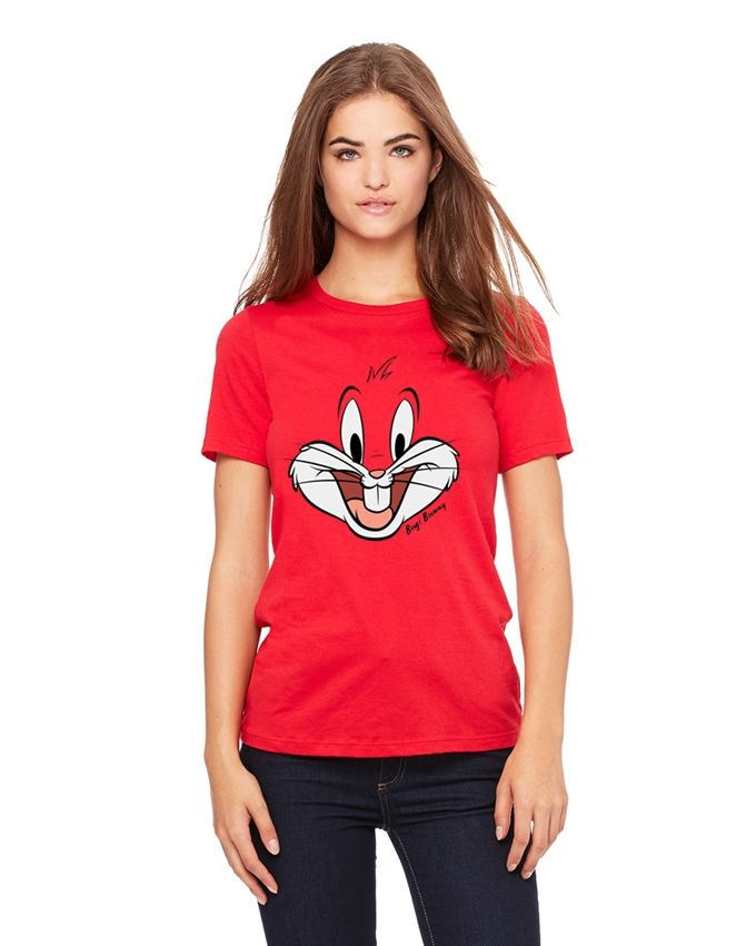 Red cotton Rabbit printed t-shirts for women,customized women shirts ,custom color and printing t-shirts,