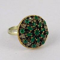 Victorian Style !! Green Onyx_White CZ 925 Sterling Silver Ring_Designer Prices Silver Jewellery