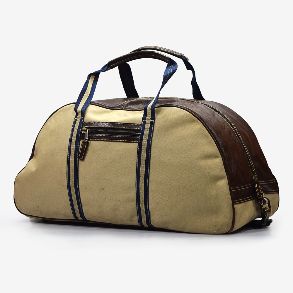 Vachetta Leather and Cotton Canvas Duffel Bag