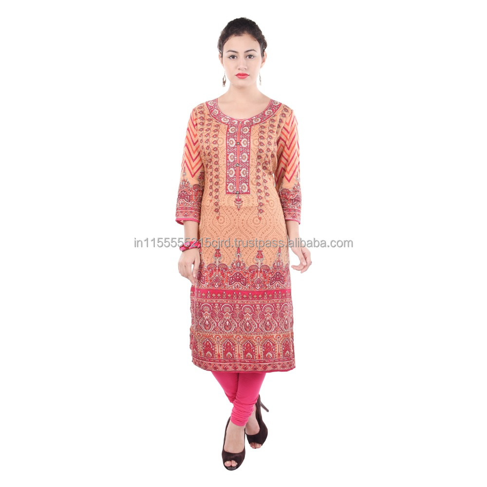 Chi Chi Red color Printed Cotton Jaipuri Kurti Designer Neck