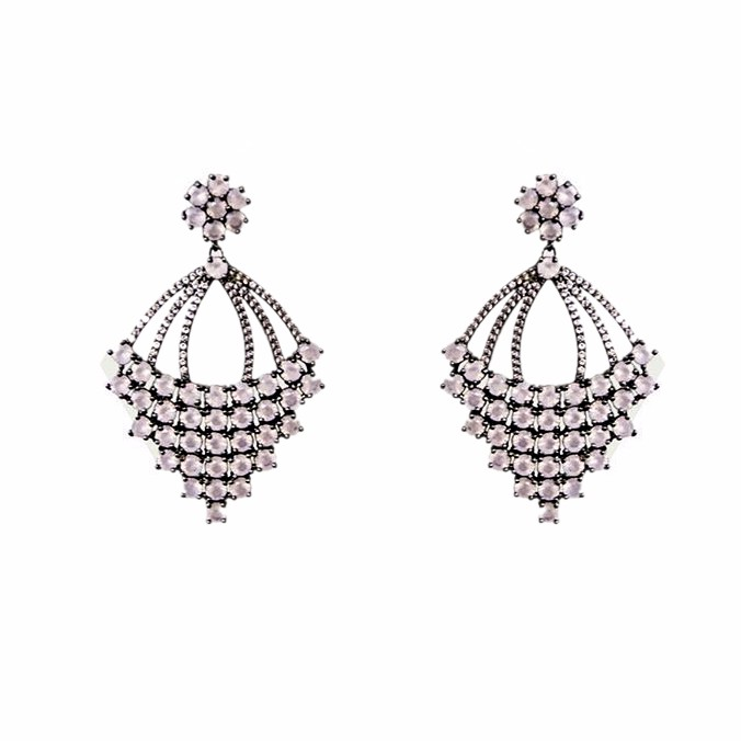 ladies semi joias brass metal without bath colored marquise crystal paved earrings