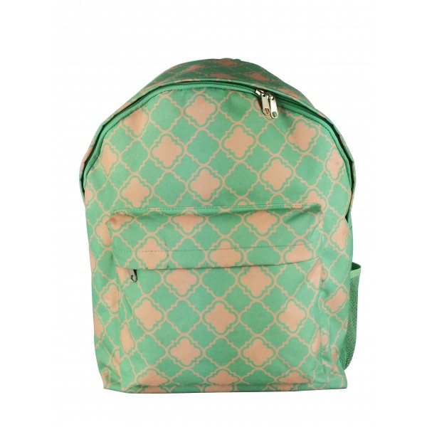 Big Backpack Small Quatrefoil Light Green With Pink