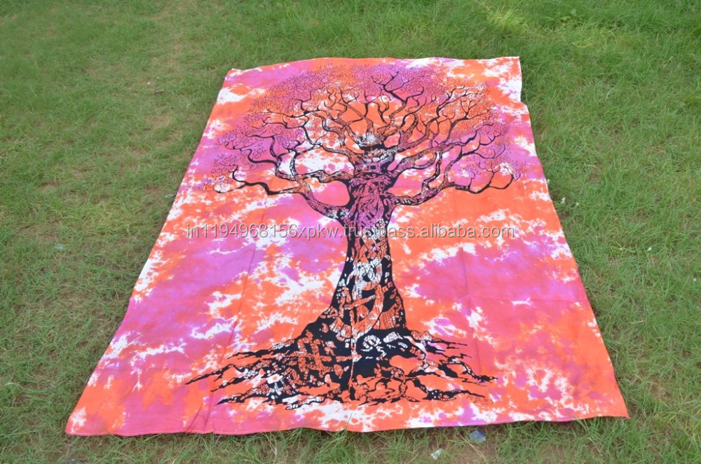 Tree Of Life Wall Hanging Tie Die Tapestry Wall Throw Decor Bedspread Hippie Tapestries
