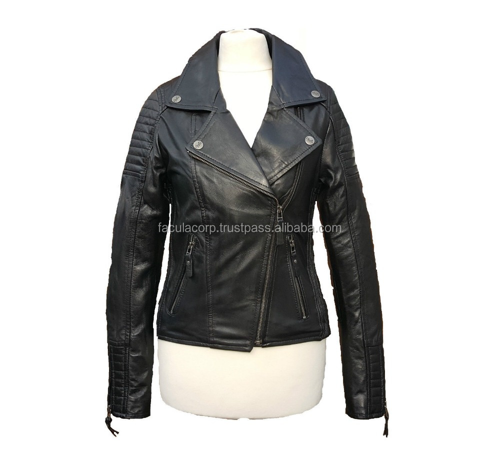 Ladies Women Real Leather Black Vintage Biker Style Fashion Jacke FC-7791